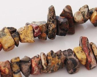 Semi-Precious Red Leopard Skin Chip Beads - 2x8 Inch Strands - 5029