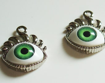 20mm x 25mm EyeBall With Eye Lashes Pendant/Charm - Green - 2 Pieces - 1650