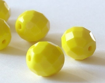 10mm round  Fire Polished Yellow Czech Glass Beads - 10 Pieces0429