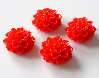 15mm Resin Glossy Dahlia Flower Cabochons - Red 12 Pieces - LCRB772Y-R