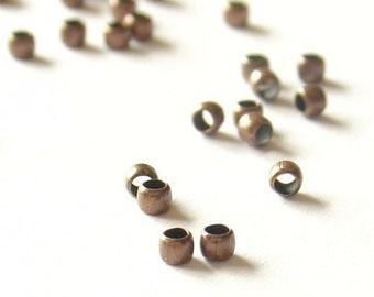 2mm Smooth Antique Copper Crimp Beads - Nickel Free - 200 Pieces - 05-04