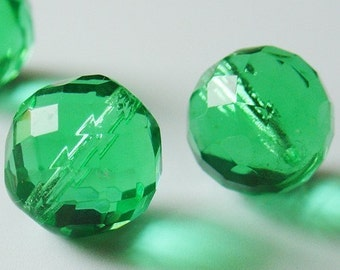 18mm Czech Fire Polished Beads - Transparent Peridot - 2 Pieces - 0108