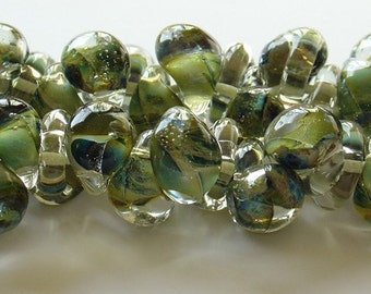 10mm Unicorne Tear Drop Lampwork Beads - Olive Green - 4 Pieces - 21080