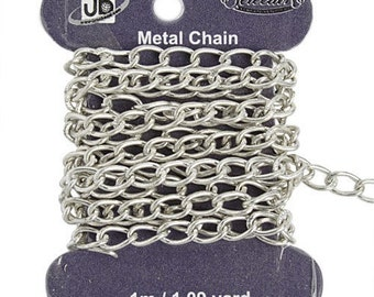 CLEARANCE         7mmx4mm Rhodium Chain - Lead and Nickel Free - 1 metre/approximately 3.28 feet - 0300h
