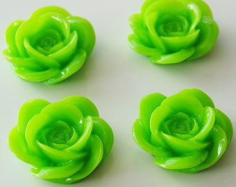 18mm Resin Rose Flower Cabochons - 4 Pieces - LCRB072Y