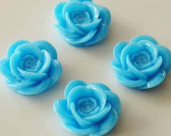 18mm Resin Rose Flower Cabochons - Blue - 4 Pieces - LCRB072YBL