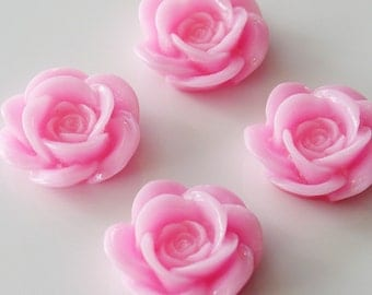 18mm Resin Rose Flower Cabochons - Pink - 4 Pieces - LCRB072B