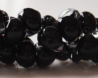 10mm Unicorne Tear Drop Lampwork Beads - Black Sea - 4 Pieces - 21040