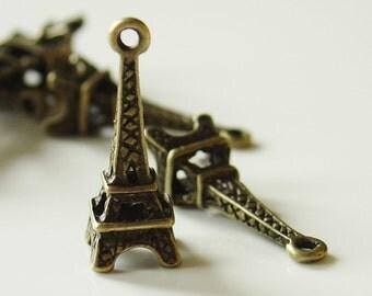 24mm x 8mm Antique Bronze Eiffel Tower Pendant Charm 10 Pieces - LCEA9450Y