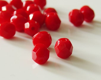 6mm Czech Fire Polished round glass   Beads in Opaque Bright Red - 25 Pieces - 6143
