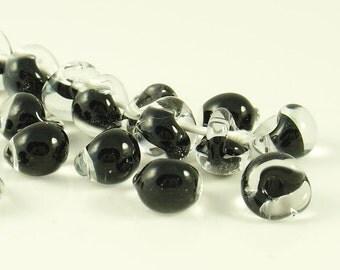 10mm Unicorne Tear Drop Lampwork Beads - Black Sea  - 4 Pieces - 021040