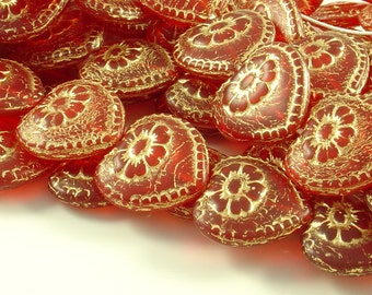 17mm Red Victorian Heart with Gold Flower Etching - 6 Pieces -LCCZ690