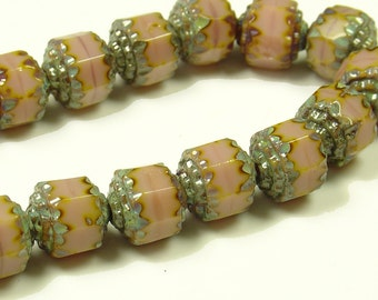 8mm Rose with Marble Silver Ends Czech Firepolished Cathedral Beads - 4 Pieces - 18s8