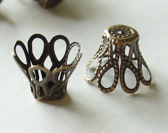 Nickel Free Bronze Flower Bead CAPS - 25 Pcs (E115-NFAB)