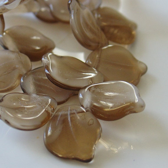 14mm x 12mm Gorgeous Top-Drilled White and Light Brown Czech Glass Leaves - 20 Beads per Strand - LCCPL-006