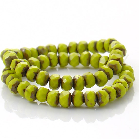 5mm x 3mm Olive Green Rondelles with Bronze Ends - 30 Beads - LC051