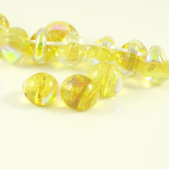 10mm Unicorne Tear Drop Lampwork Beads - Electric Dandelion - 4 Pieces - 22005