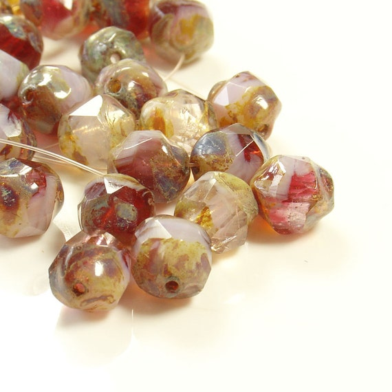 7mm Mixed Pink Colours Baroque Czech Firepolished Glass Beads - 15 Beads - LC051