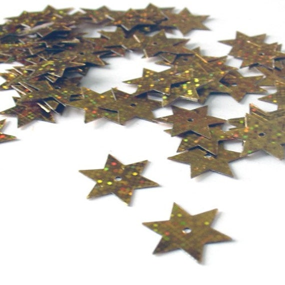 Gutermann Shiny Gold Star Shaped Sequins Connectors - 4 grams