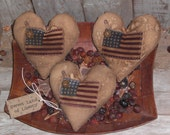 3 Patriotic Primitive July 4 Americana Flag and Heart Shaped Bowl Fillers Ornies Ornaments Tucks Little Pillows