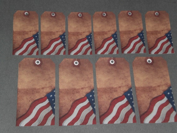 Set of 10 - Primitive Hang Tags with Cotton String Ties - July 4 - American Flag - Americana - Vintage Look - Tags