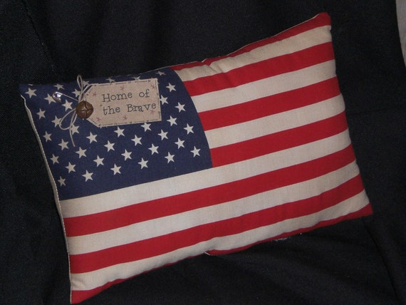 Primitive - American - USA - Flag - Pillow - Shelf Sitter - Americana - Home of the Brave - Patriotic - 4th of July - Accent Pillow