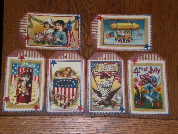6 Primitive Americana Patriotic July 4 Red White and Blue Hang Tags Gift Ties for Dollies Ornies