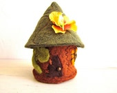 wool felt fairy home in bark and moss