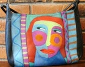 Hand Painted Handbag with Abstract Red Haired Woman Portrait