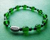 SALE! Green & Black Glass hope ribbon Cancer Awareness Bracelet  - 100% donation