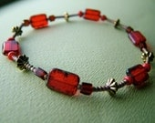 SALE Beautiful Red & Gold Glass Beaded HOPE Cancer Awareness Bracelet/ anklet (9 inch)- 100% donation