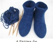 Felted  DIY Knit Slipper Socks Pattern PDF Tutorial - Instant Download