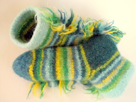 Reserved For Maureens Footsies Anniversary Sale Felted Wool Slipper Socks Size 7-8  Wild Things