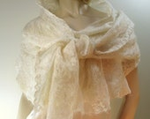 Lacy Felted Shawl  -Soft translucent ultra-light felted longfiber wool and silk Handmade Luxury
