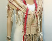 Woven Big Scarf natural cotton fibers Bohemian Rustic style wrap