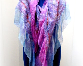 Silk Felt Shawl-Scarf sheer wrap soft as cashmere - Orchid Lilac Blues