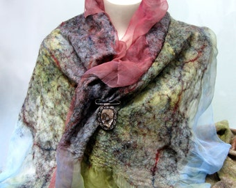 Felt Scarf-Shawl sheer cashmere-soft merino wrap on painted silk