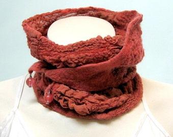 Wool Felt Scarf Neckwarmer - Shibori Nuno soft Merino Silk - Paprika