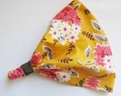 White and Pink Flower Bunches on Yellow Headband Bandana
