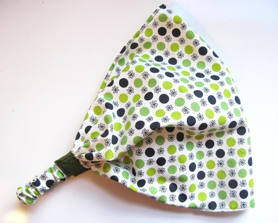 Green Polkadots Wide Fabric Headband Headwarp Headscarf