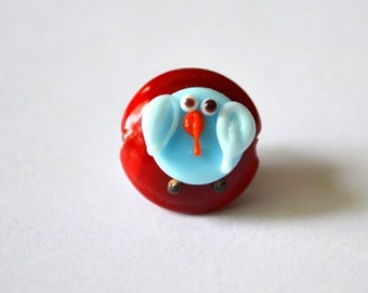 2 sided blue bird bead...Handmade lampwork glass beads by Marianna