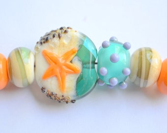 The Seashore...tide pool focal and sea glass  bead mix handmade lampwork glass beads by Marianna