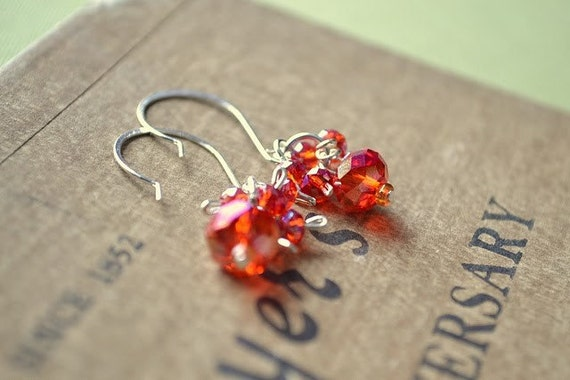 Love Squared...earrings faceted briollette clusters