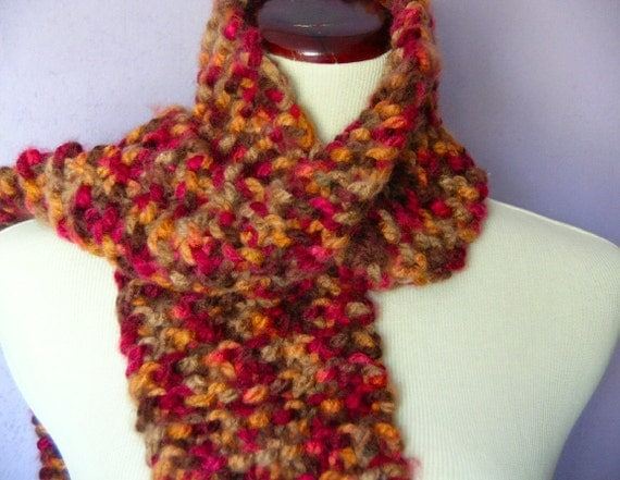 ON SALE----Autumn Queen Lush and chunky scarf handknit