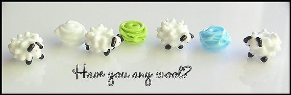 Have you any wool- knitting sheep yarn knitting needles lampwork glass bead set perfect for knitting lovers