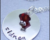 Hand-stamped name necklace with birthstone-Customize