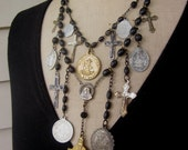 RESERVED Vintage Necklace, Charm Necklace, Rosary - Double Crossed
