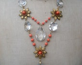 Vintage Necklace, Flower Necklace, Crystal Necklace and earring set - Tangerine