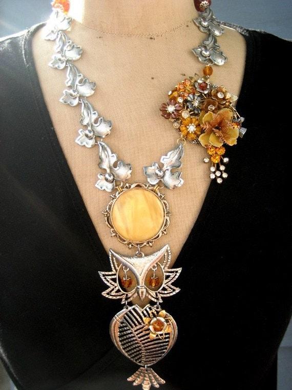 SALE, Vintage Owl Necklace, Vintage Flower Necklace
