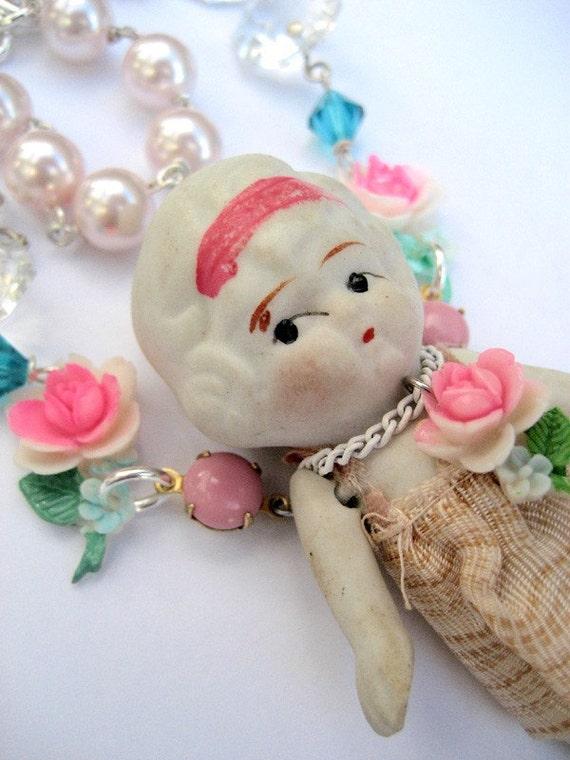 Vintage Bisque Doll Necklace -  Sweet Child of Mine